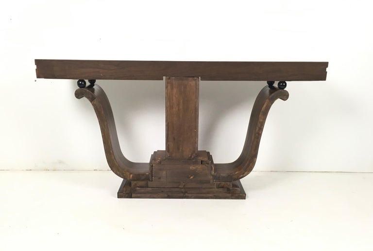 Pair of Stunning and Unique Art Deco Walnut Console Tables, Italy, 1940s In Excellent Condition For Sale In Bresso, Lombardy