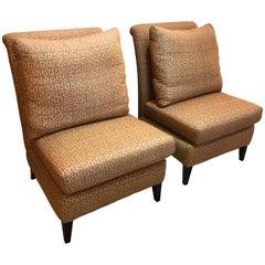 Pair of Stunning Custom Designer Raw Silk Linen Contemporary Slipper Chairs
