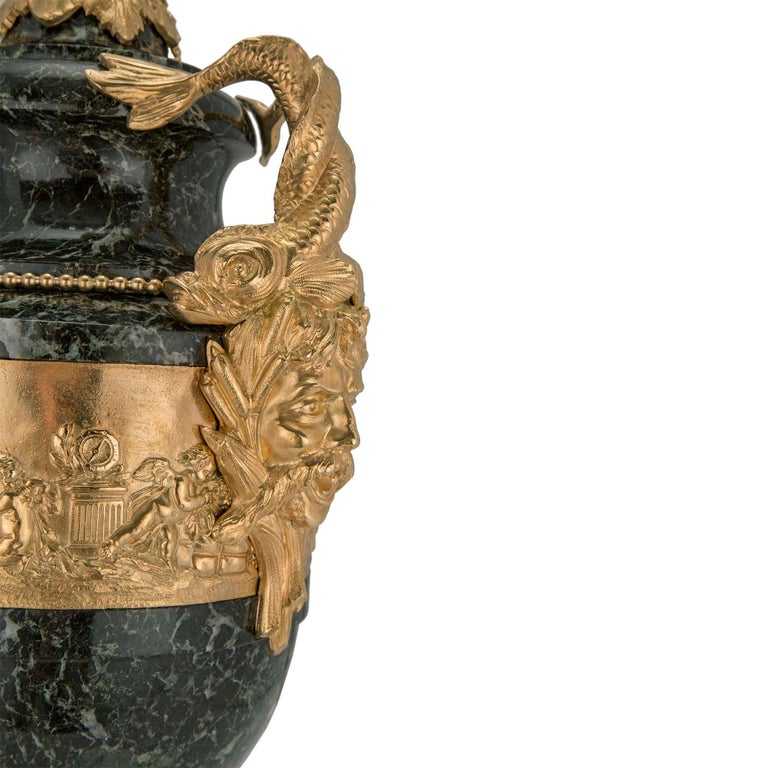 Pair of Stunning French 19th Century Vert Patricia Marble and Ormolu Lidded Urns For Sale 1