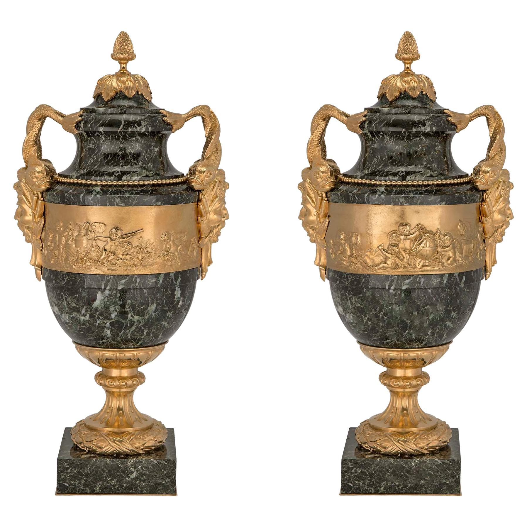 Pair of Stunning French 19th Century Vert Patricia Marble and Ormolu Lidded Urns