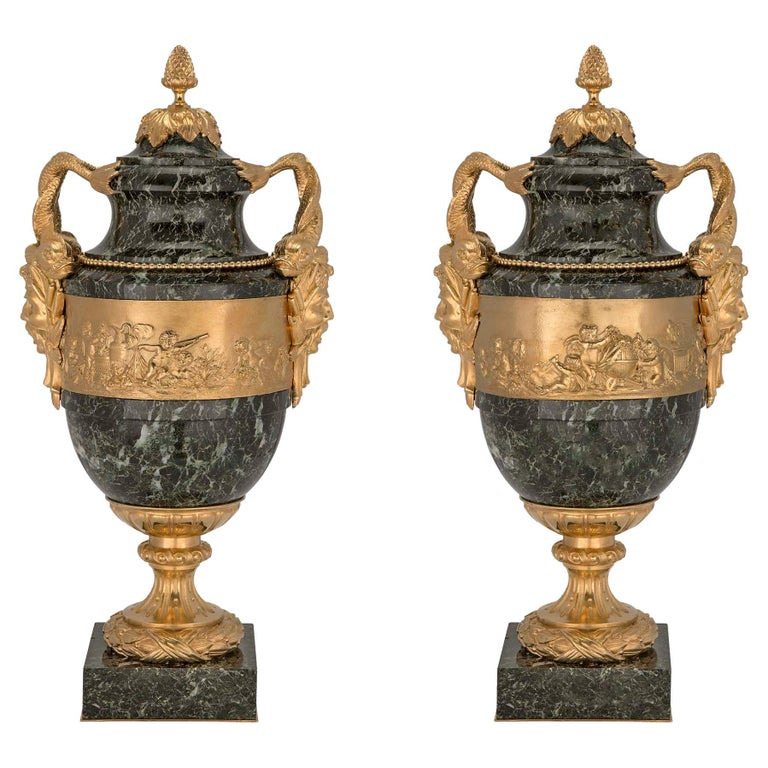 Pair of Stunning French 19th Century Vert Patricia Marble and Ormolu Lidded Urns For Sale