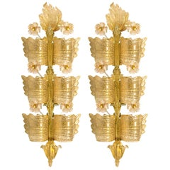 """Pair of Stunning Huge Extra Large Wall Lights by Barovier & Toso (H 41""""), Italy"""