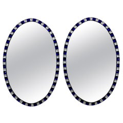 Pair of Stunning Irish Mirrors with Faceted Rock Crystal and Blue Glass Borders