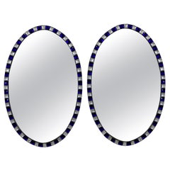 Pair of Stunning Irish Mirrors with Faceted Rock Crystal and Blu Glass Borders