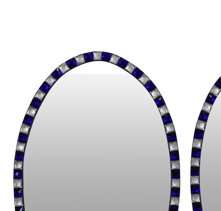 Pair of Stunning Irish Mirrors with Faceted Rock Crystal and Blue Glass Borders In Excellent Condition In London, GB