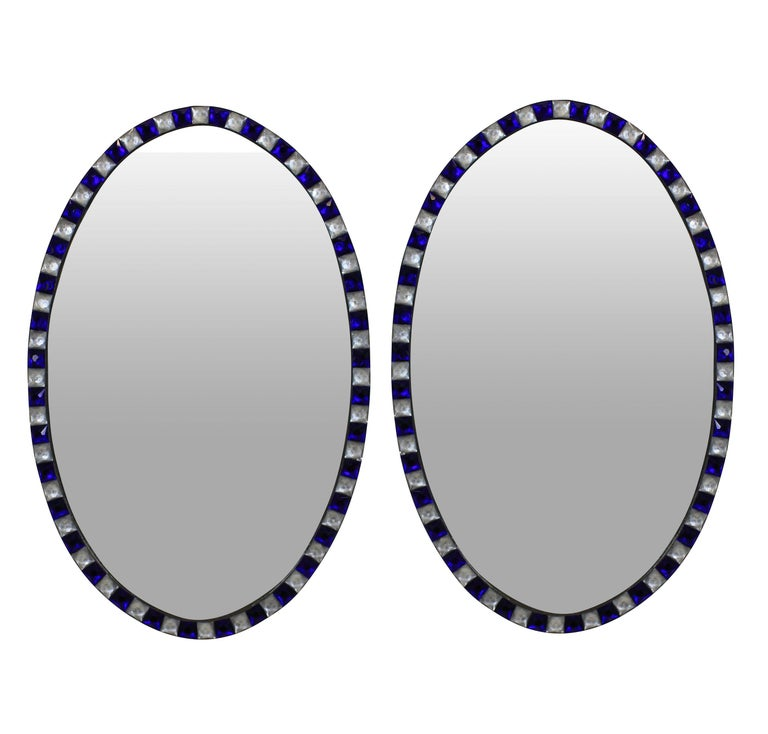 Pair of Stunning Irish Mirrors with Faceted Rock Crystal and Blue Glass Borders 1
