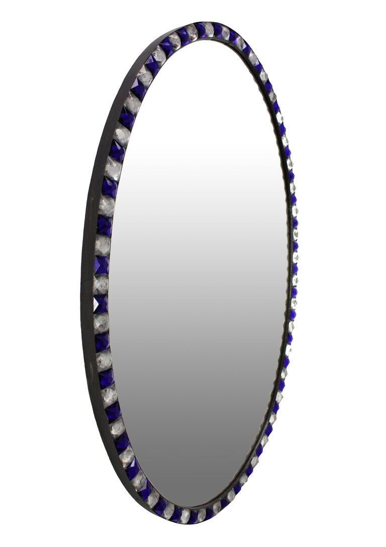 Pair of Stunning Irish Mirrors with Faceted Rock Crystal and Blue Glass Borders 2