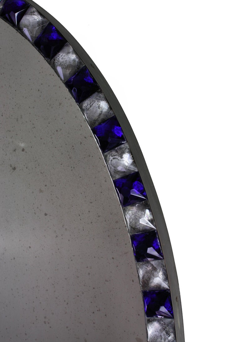 Pair of Stunning Irish Mirrors with Faceted Rock Crystal and Blue Glass Borders 3