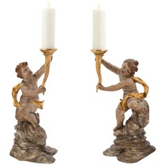 Pair of Stunning Italian Early 18th Century Candle Stands from Northern Italy