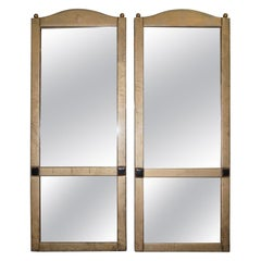 Pair of Stunning Leather Clad Full Length Tall Floor Standing Mirrors