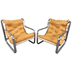 Pair of Stunning Midcentury Leather/ Chrome Italian Lounge Chairs