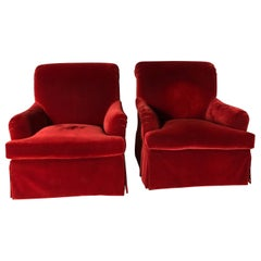 Pair of Stunning Velvet Mohair English Roll Arm Club Chairs on Swivel Base