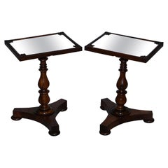 Pair of Stunning Original 1830 William IV Hardwood Mirrored Top Side Lamp Tables