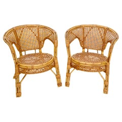 Pair of Stunning Round Barrel Shape Bamboo Rattan Cane Seat Chairs