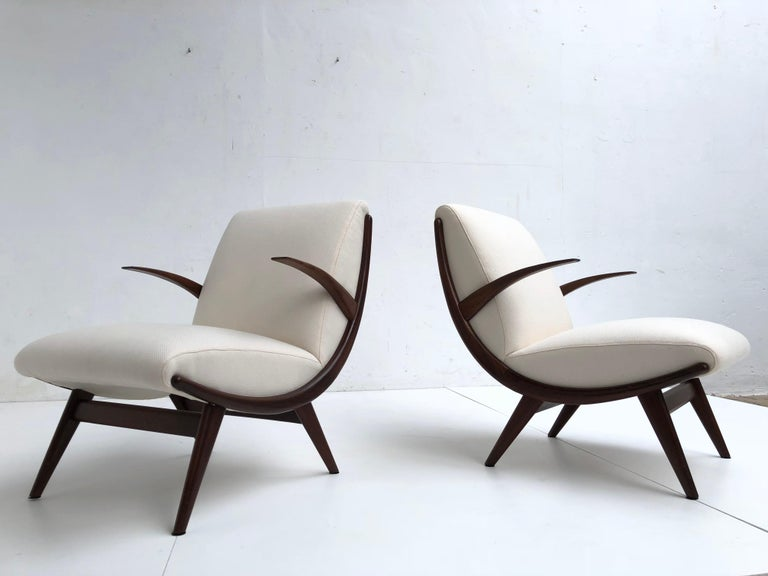 Pair of Stunning Scandinavian 1950s Teak Lounge Armchairs New Wool Upholstery For Sale 4