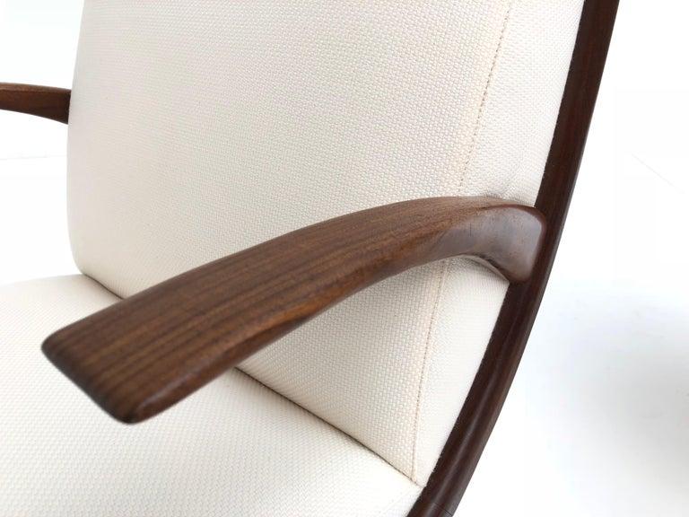 Danish Pair of Stunning Scandinavian 1950s Teak Lounge Armchairs New Wool Upholstery For Sale