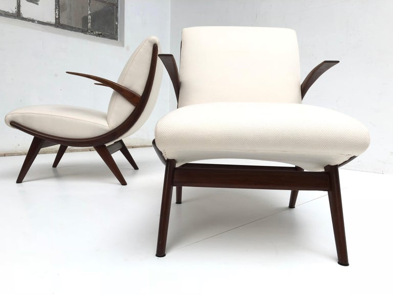 Mid-20th Century Pair of Stunning Scandinavian 1950s Teak Lounge Armchairs New Wool Upholstery For Sale