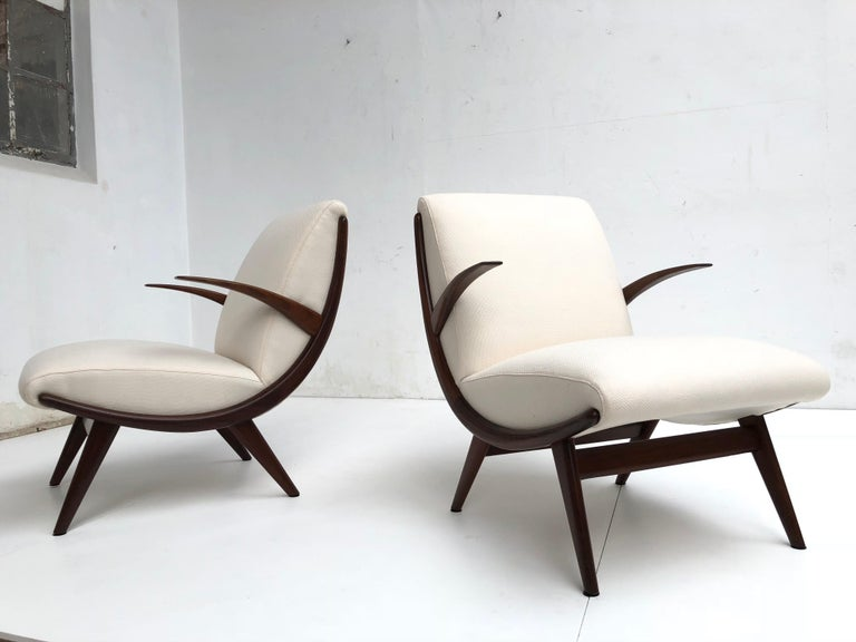 Pair of Stunning Scandinavian 1950s Teak Lounge Armchairs New Wool Upholstery For Sale 1