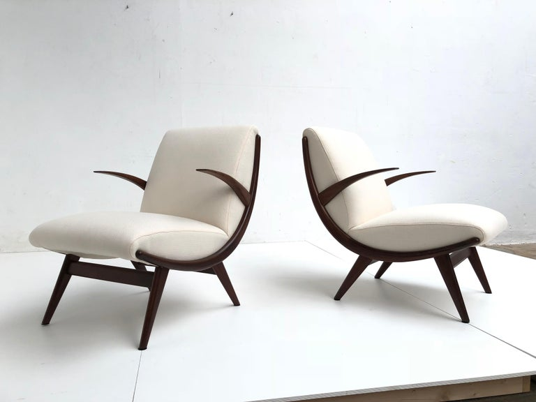 Pair of Stunning Scandinavian 1950s Teak Lounge Armchairs New Wool Upholstery For Sale 2