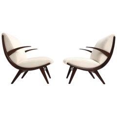 Pair of Stunning Scandinavian 1950s Teak Lounge Armchairs New Wool Upholstery