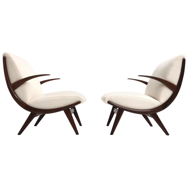 Pair of Stunning Scandinavian 1950s Teak Lounge Armchairs New Wool Upholstery For Sale
