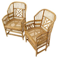 Pair of Stunning Vintage Bamboo and Rattan Armchairs Side Chairs Cane Seats