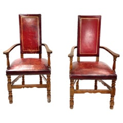 Pair of Style Renaissance Armchairs, Burgundy Color, in Oak, France, 1970