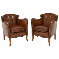Pair of Stylish Antique Swedish Leather Armchairs