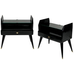 Pair of Stylish Black Lacquered Nightstands