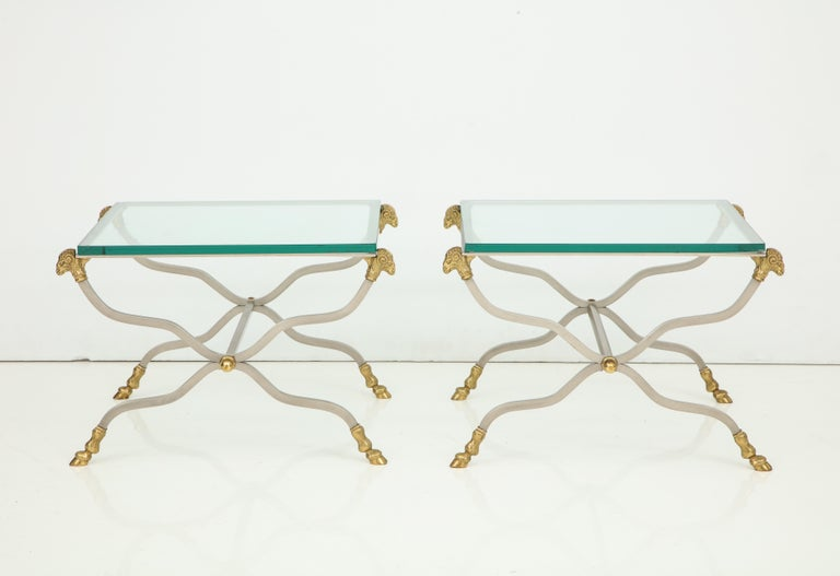 Pair of Stylish Brass End Tables For Sale 7
