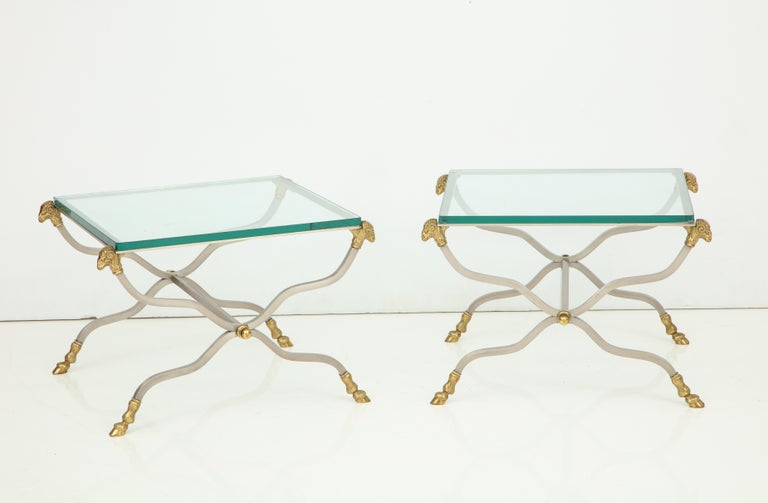 Pair of Stylish Brass End Tables For Sale 8