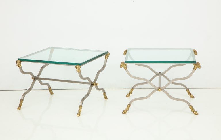 Pair of Stylish Brass End Tables For Sale 2
