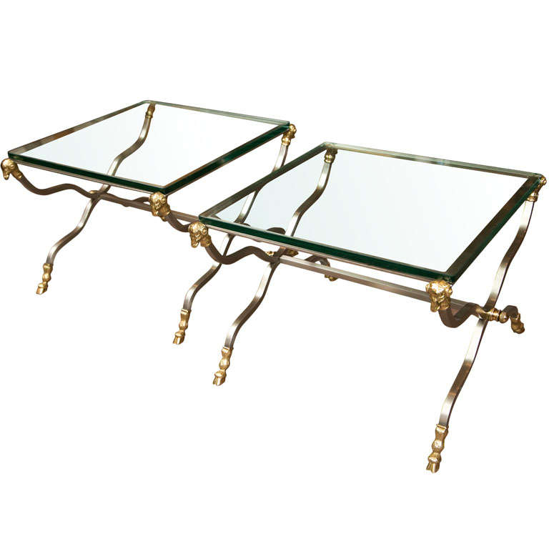 Pair of Stylish Brass End Tables For Sale