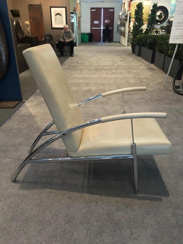 Paar Stilvolle Chrom Und Leder Mitte Des Jahrhundert Design Lounge Stuhle
