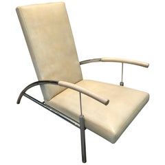 Pair of Stylish Chrome and Leather Midcentury Design Lounge Chairs