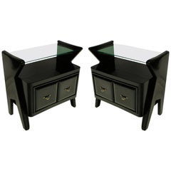 Pair of Stylish Ebonized Italian Nightstands