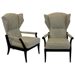 Pair of Stylish Ebonized Italian Reclining Armchairs