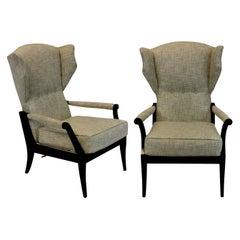 Pair of Stylish Ebonized Italian Reclining Armchairs