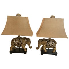 Pair of Stylish Elephant Lamps with Ultra Suede Shades