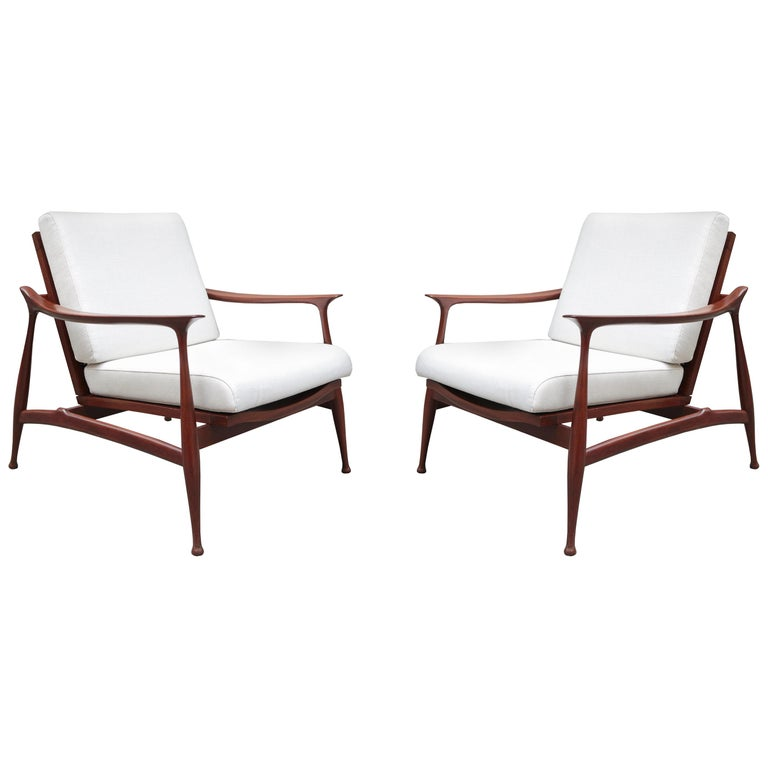 """Pair of Stylish Ico Parisi  """"Lord"""" Lounge Chairs"""