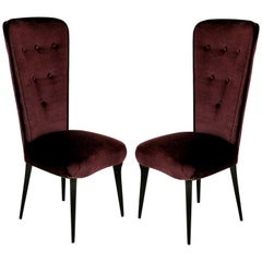 Pair of Stylish Italian Bedroom Chairs in Mohair Velvet