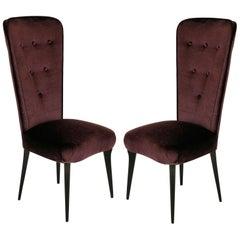 Pair of Stylish Italian Bedroom Chairs in Mohair Velvet