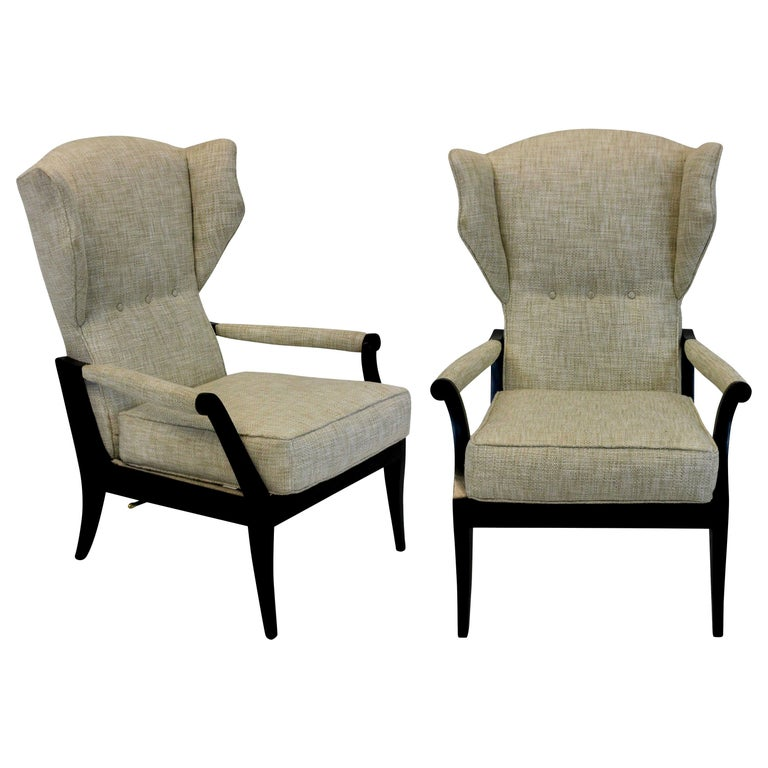 Pair of Stylish Italian Reclining Armchairs For Sale
