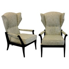Pair of Stylish Ebonised Italian Reclining Armchairs
