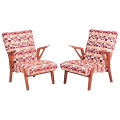 Pair of Stylish Midcentury Oak Armchairs, 1960s