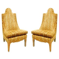 Pair of Stylish Slipper Chairs with Lacquered Wood Trim, 1960s