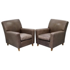 Pair of Stylish Terence Conran Italian Grey Heritage Leather Armchairs