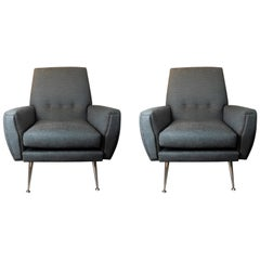 Pair of Stylish Vintage Italian 1950s Armchairs with Chrome Legs in Teal Fabric