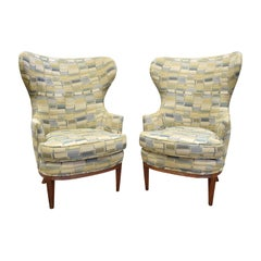 Pair of Stylish Wingback Chairs in the Style of Paolo Buffa, 1950s
