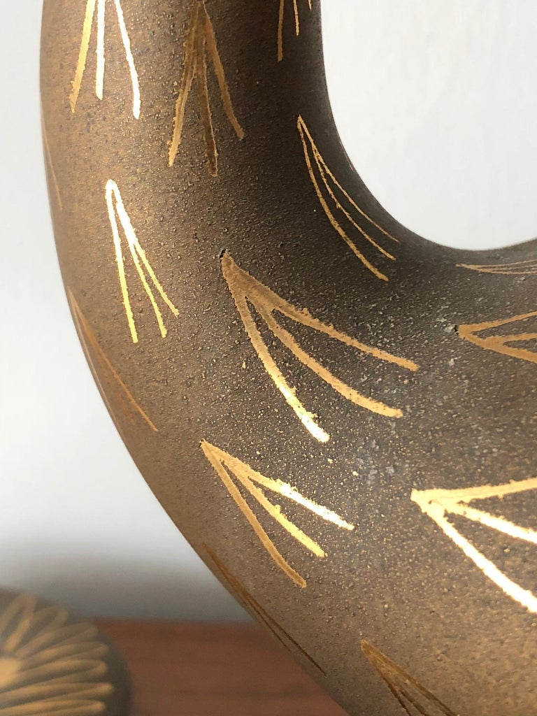 Pair of Stylized Ceramic Swans by Waylande Gregory, circa 1940s For Sale 3